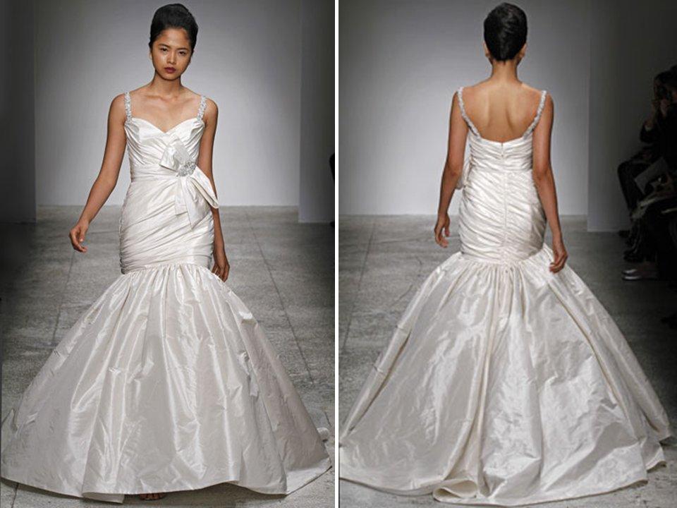 Ivory Drop-waist Duchess Satin Wedding Dress With Crystal