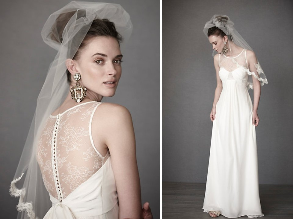 White Empire 2011 Wedding Dress With Sheer Illusion