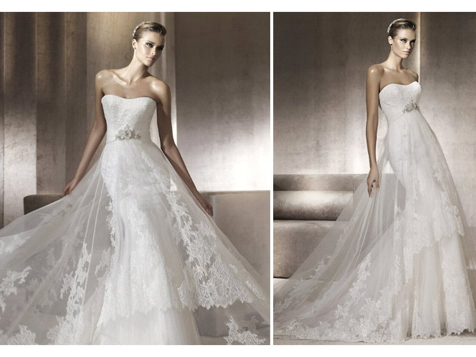 Lace Pronovias Wedding Dress With Sheer Overlay And Beaded