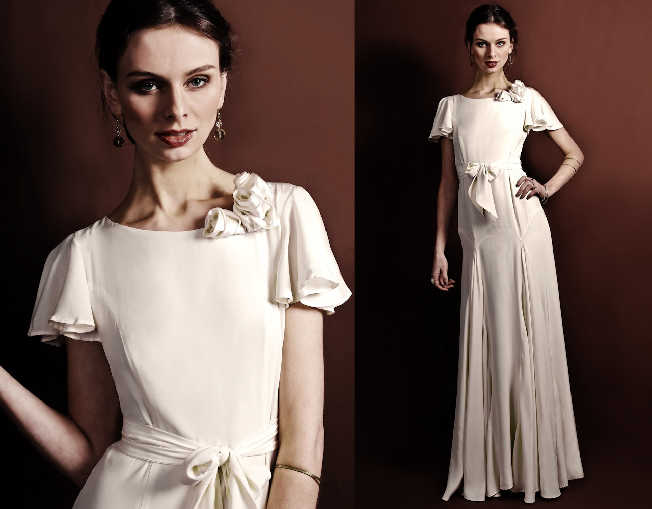 Vintage-inspired Ivory Wedding Dress With Flutter Sleeve