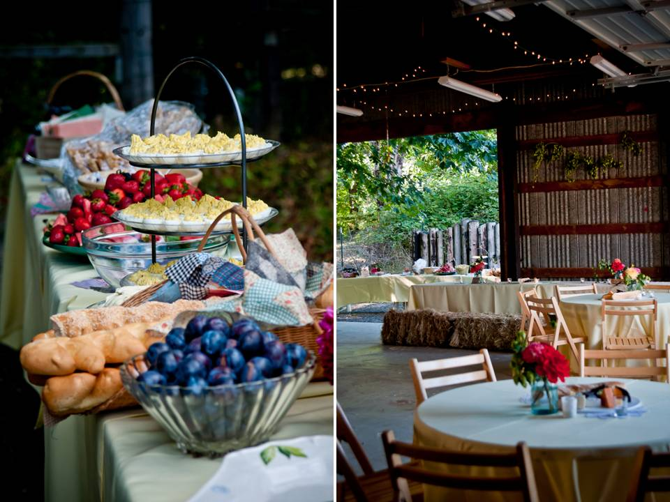 Casual Outdoor Wedding Reception With Buffet-style Dining