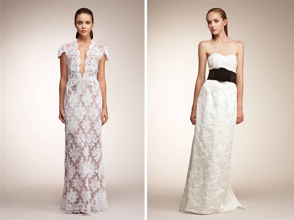 White Lace V-neck Wedding Dress And White Brocade Column