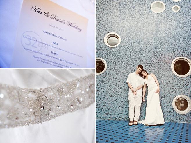 Simple And Chic Black White Wedding Programs Bride Groom Pose In Casual Beach Attir