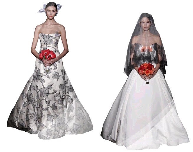 White Wedding Dress With Black Floral Print By Carolina