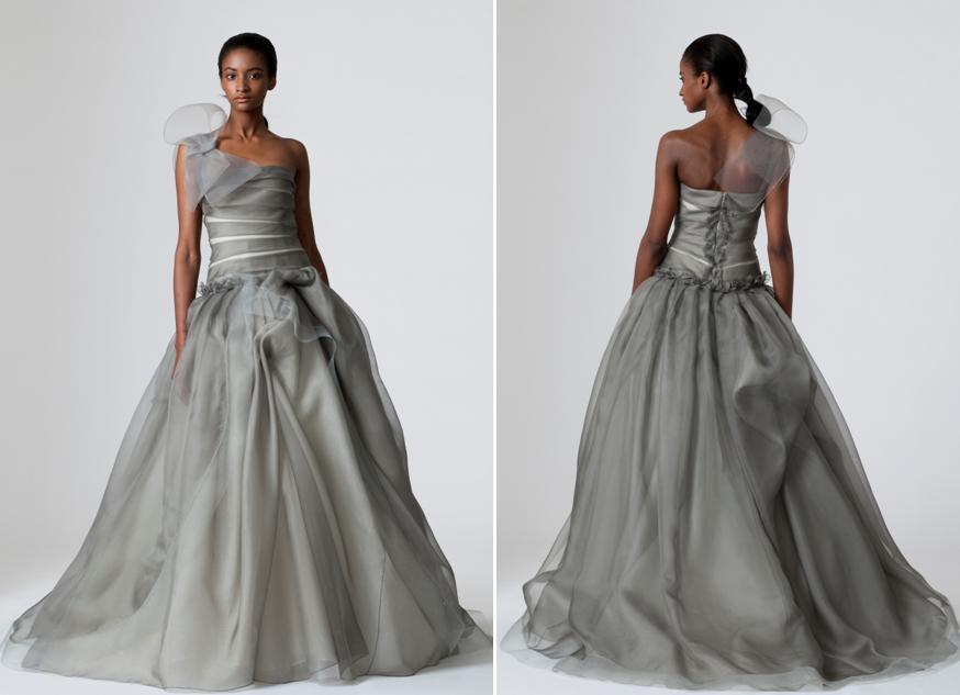 Pewter Vera Wang Wedding Dress With Full A-line-skirt