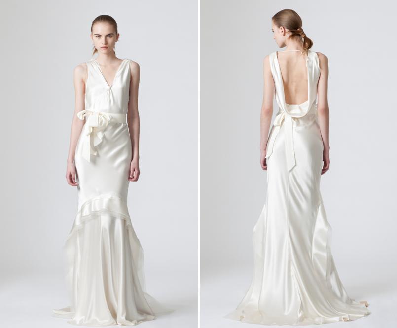 Sleek Satin White Wedding Dress From Vera Wang With Low