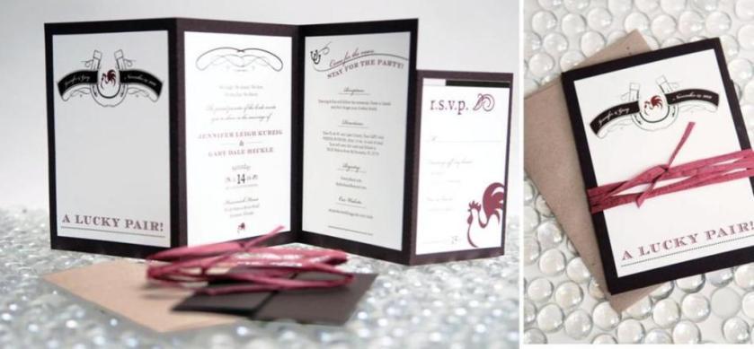 Chic And Elegant Black White Grey Wedding Stationery With Ribbon