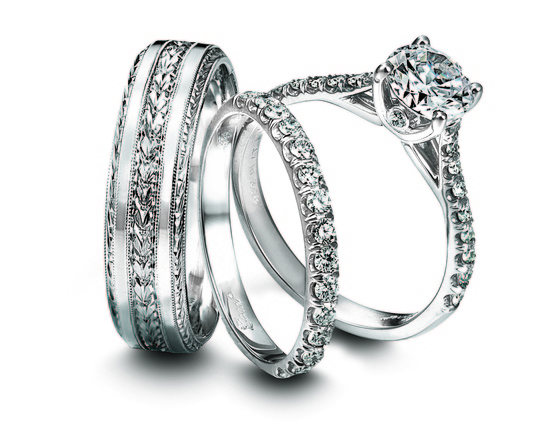 Engagement Ring And Wedding Band Set For Him And Her Jeff Cooper Diamond And Platinum Ring Set