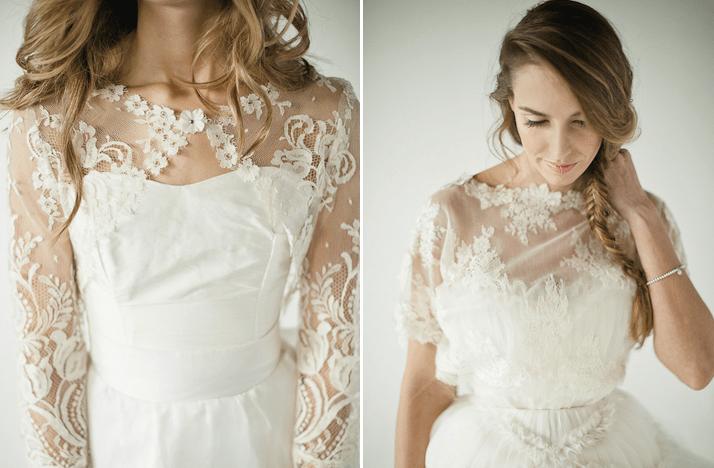 Floral Lace Wedding Bolero Sheer Illusion Fabric Sleeves