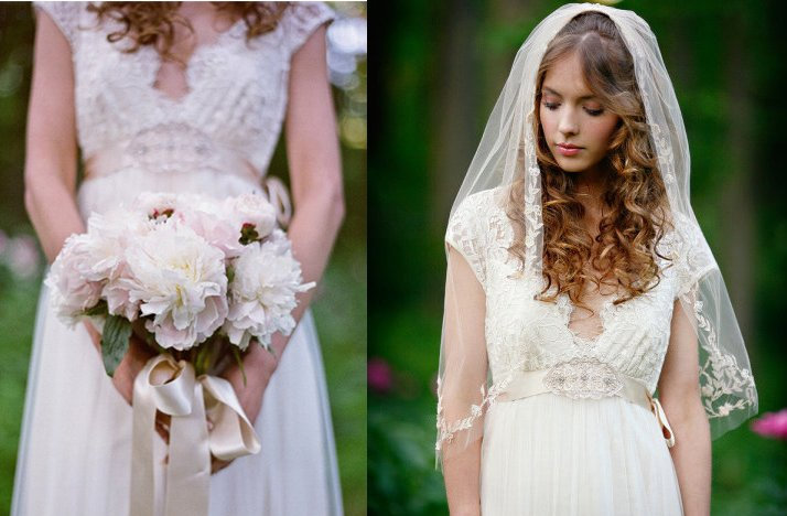 Romantic Garden Wedding. Bride Wears Lace Veil With A V