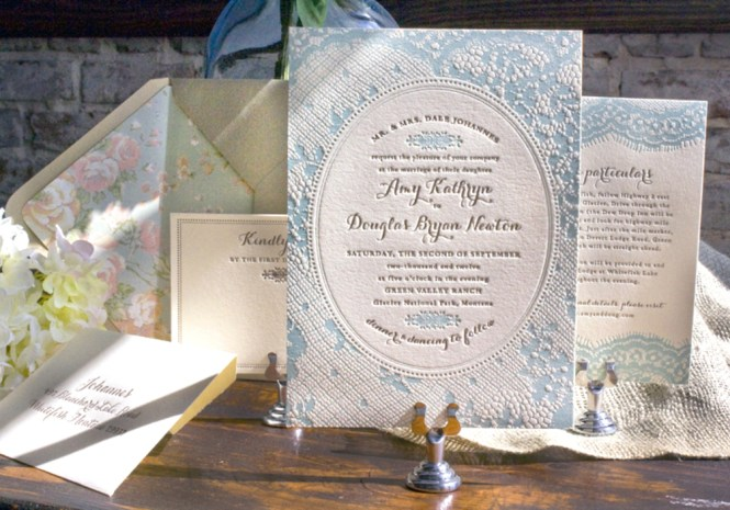 Chic Country Wedding Invitations In Blush
