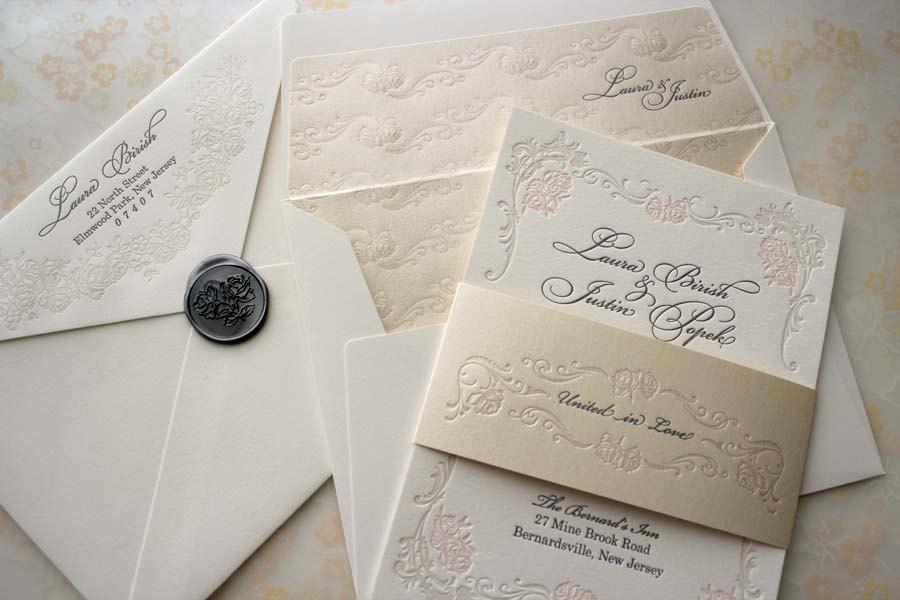 Floral Letterpress Wedding Invitations Elegant