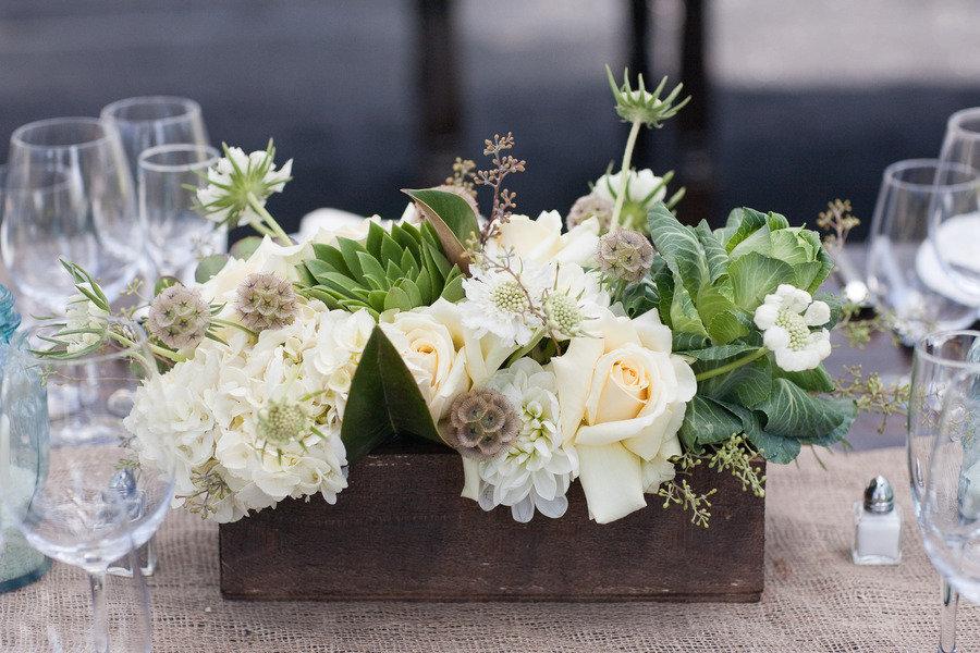 Cream, Tan & Brown Wedding Flower Centerpiece With Green