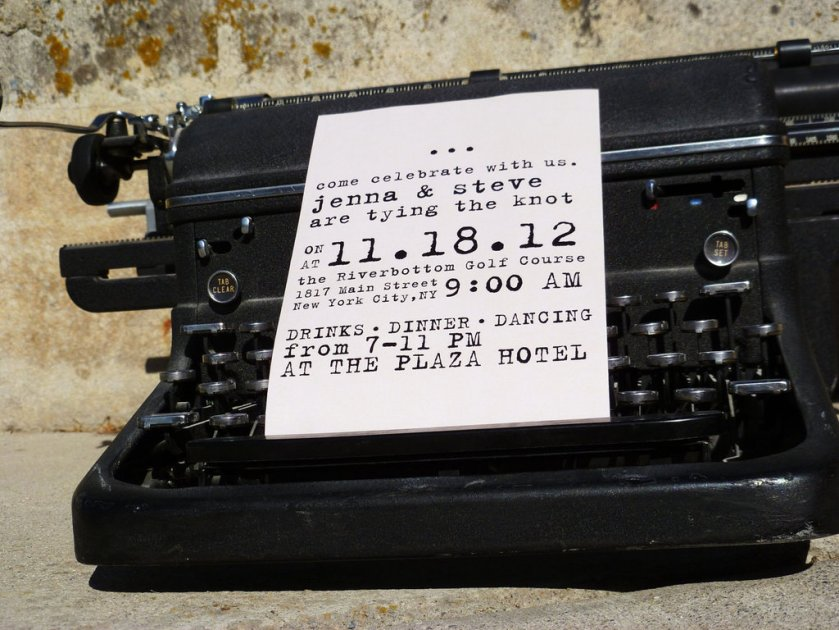 Budget Wedding Ideas Diy Invitations Etsy Weddings Vine Typewriter
