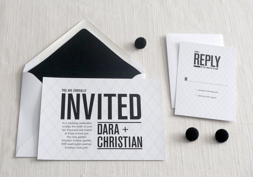 Wedding Invitations For Modern Weddings Etsy Finds Black White Chic