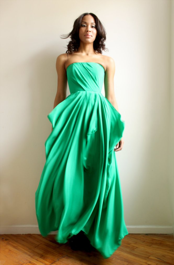 A Line One Shoulder Short Emerald Green Chiffon Wedding Party Bridesmaid Dress Back