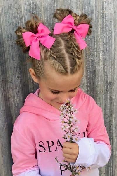 fryzury dziecię warkocze kokardki