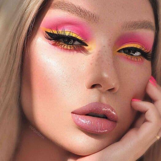 makijaż lato kolorowy róż pomarańczowy