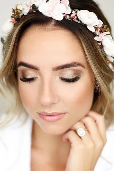 makijaż panna młoda blondynka cienie złoto