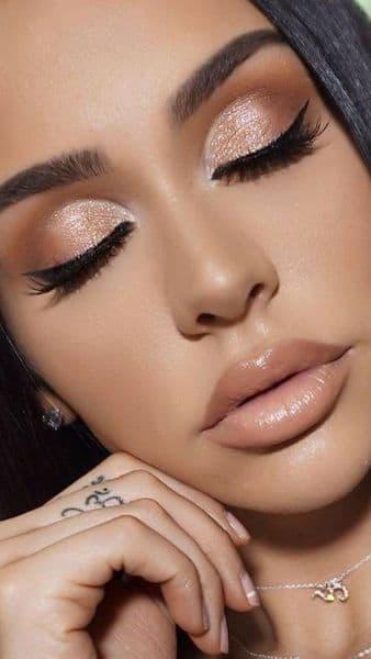 makijaż ślub metaliczny dla brunetek