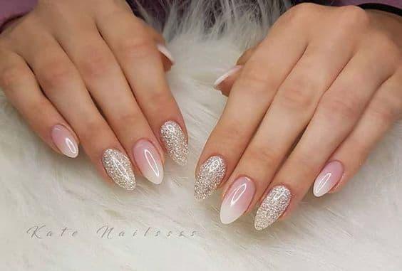 paznokcie ślubne baby boomer srebrne