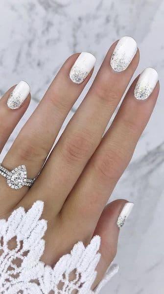 paznokcie panna młoda srebrne białe