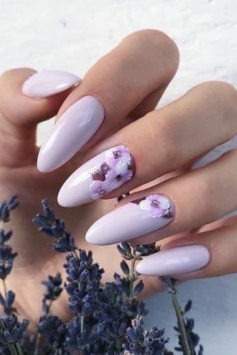 paznokcie panna młoda liliowe fioletowe lawendowe kwiaty