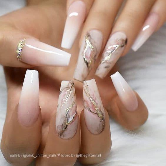 paznokcie ślubne marmurki białe baby boomem
