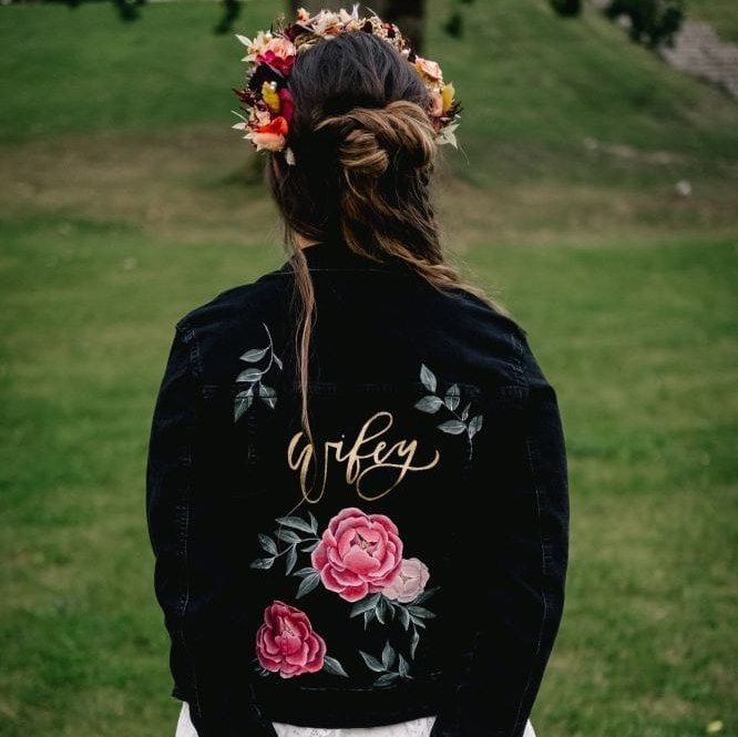 panna młoda kurtka ręcznie malowana