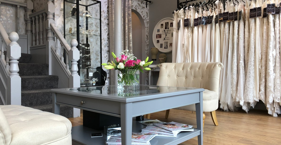 Interior of North Wales wedding dress shop Wedding Belles