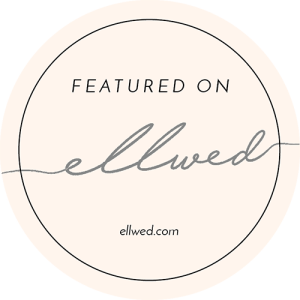 'featured on' badge for Ellwed magazine, a destination wedding blog for greece.