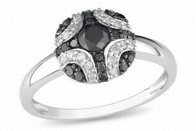 1/2 Carat Black & White Diamond 10K White Gold Ring