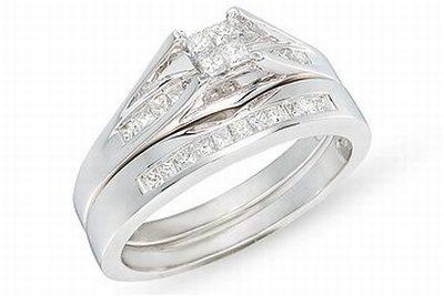 1/2 Carat Diamond Set of 14K White Gold Bridal Engagement Ring Set
