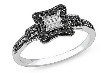 1/4 Carat Black & White Diamond 14K White Gold Ring