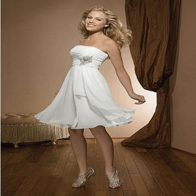 A-Line Strapless Knee-Length Short Wedding Dress with Crystal