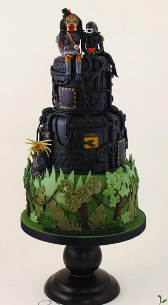 Alien vs. Predator Wedding Cake