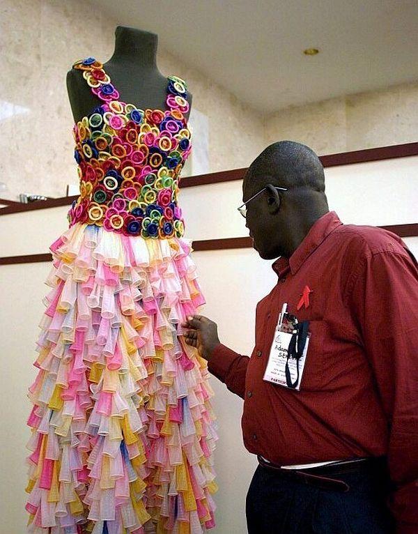Condom wedding gown