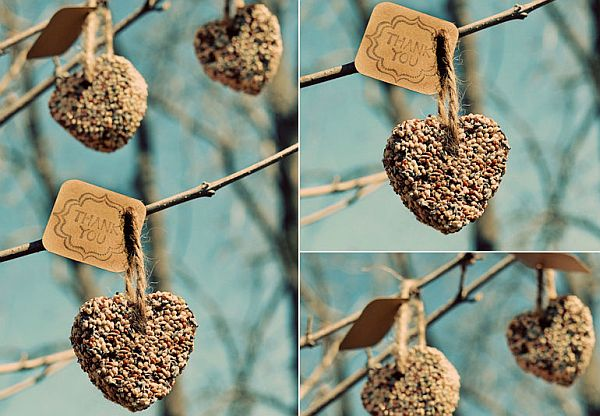 DIY Birdseed heart wedding favors