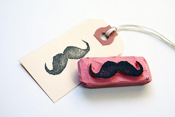 DIY Moustache wedding stamps