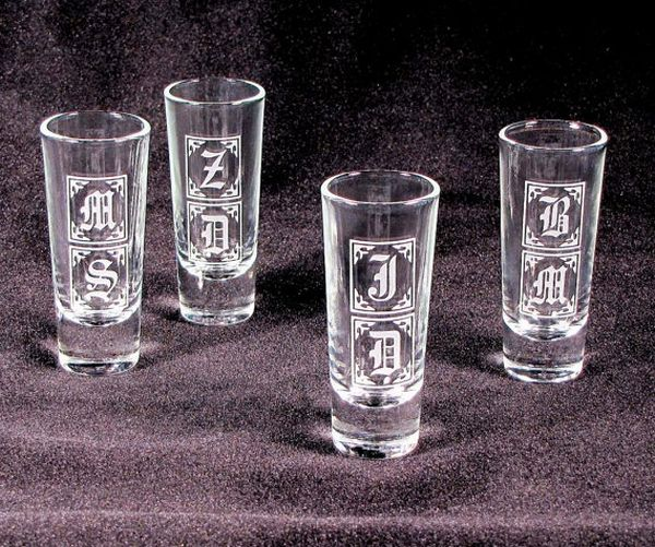 Five shot glasses