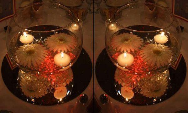 Floating silk daisies wedding centerpiece
