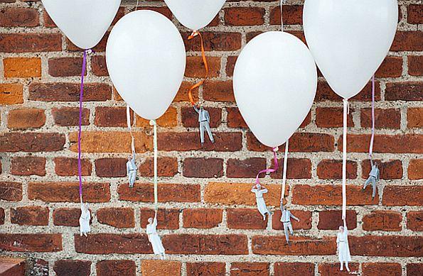 Flying wedding couple balloons