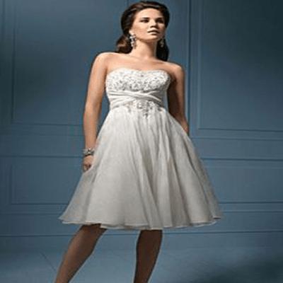 Informal Mini Wedding Dresses Organza Strapless Short Gowns WD02007