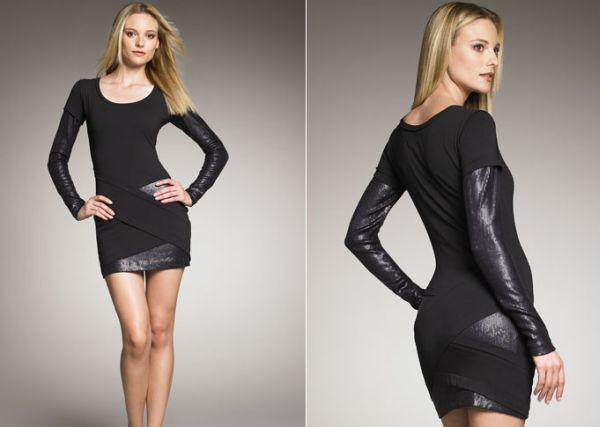 Nicole Miller Sequin-Inset Long-Sleeve Dress