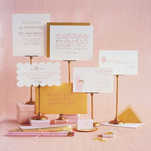 Pink and gold stationary