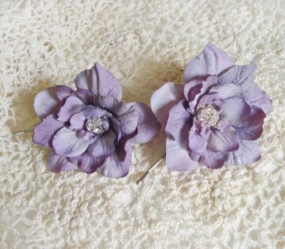 Rhinestone Pastel Purple Flower Bridal Hair Pin