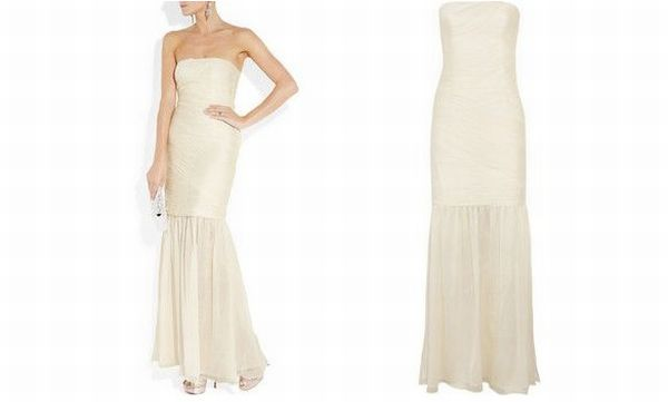 Ruched silk gown