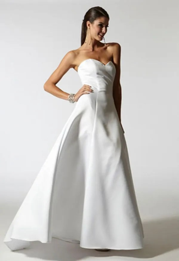 05d715e177c0d The Satin Bustier Gown is an awesome bridal dress with an amazing neckline.  It is a long cascading skirt and gives a classy appearance.