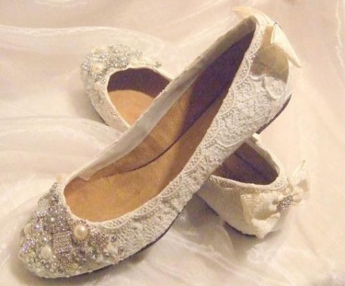 TWINKLE TOES Lace & Crystal Flat Wedding Bridal Shoes