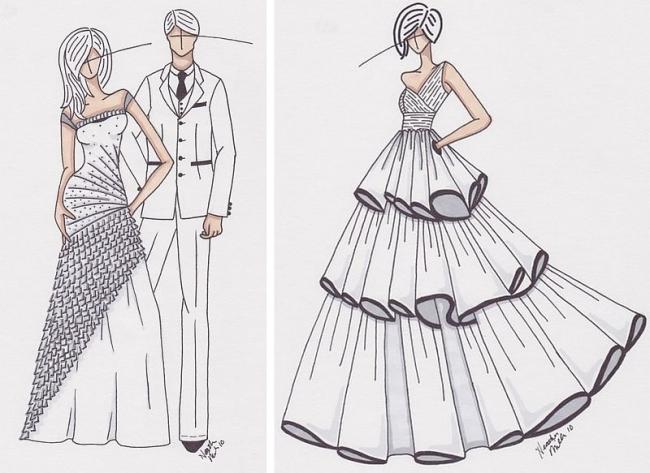 How to draw a wedding dress sketch - Wedding Clan